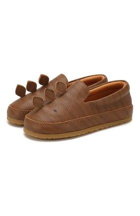 Детские кожаные слипоны DONSJE AMSTERDAM коричневого цвета, арт. 0908-ST087-CL019 | Фото 1