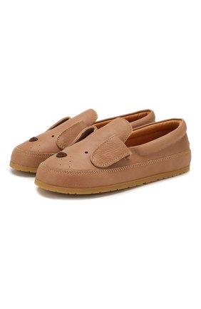 Детские кожаные слипоны DONSJE AMSTERDAM коричневого цвета, арт. 0909-ST030-CL018 | Фото 1