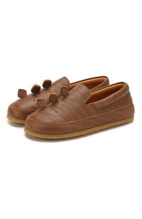 Детские кожаные слипоны DONSJE AMSTERDAM коричневого цвета, арт. 0909-ST087-CL019 | Фото 1
