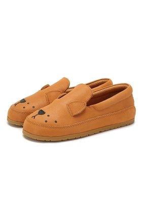Детские кожаные слипоны DONSJE AMSTERDAM оранжевого цвета, арт. 0909-ST006-CL005 | Фото 1