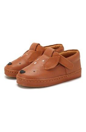 Детские кожаные слипоны DONSJE AMSTERDAM коричневого цвета, арт. 0900-ST005-CL001 | Фото 1