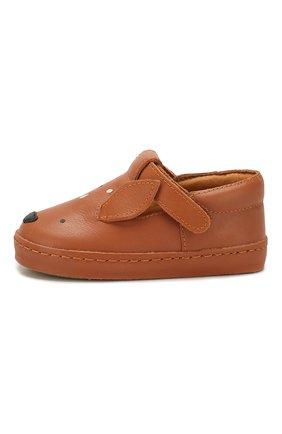 Детские кожаные слипоны DONSJE AMSTERDAM коричневого цвета, арт. 0900-ST005-CL001 | Фото 2
