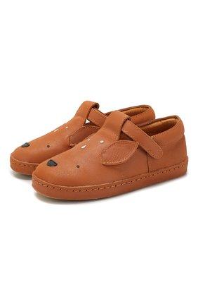 Детские кожаные слипоны DONSJE AMSTERDAM коричневого цвета, арт. 0901-ST005-CL001 | Фото 1