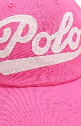 Детская хлопковая бейсболка POLO RALPH LAUREN фуксия цвета, арт. 313788942 | Фото 3