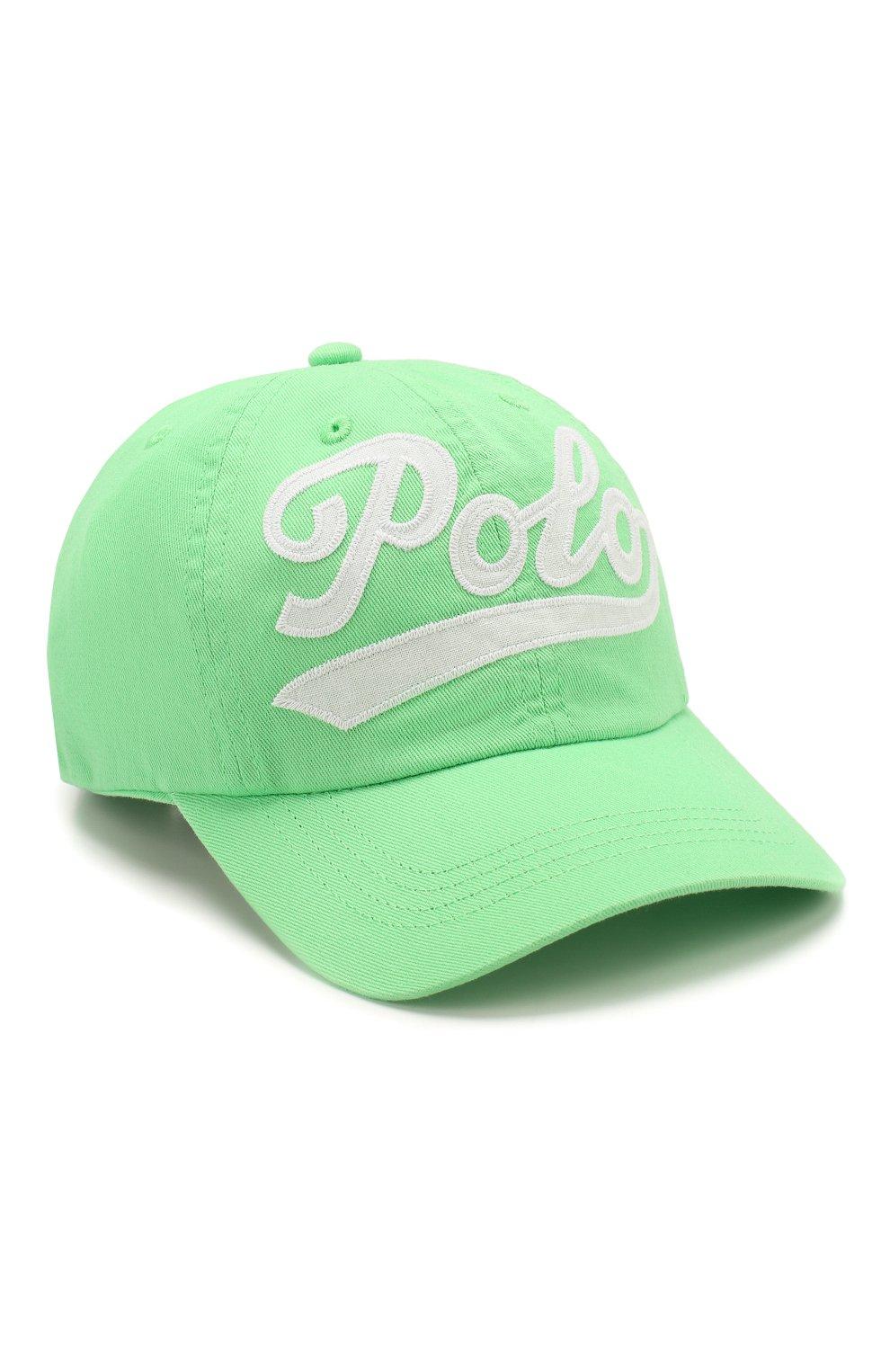 Детская хлопковая бейсболка POLO RALPH LAUREN зеленого цвета, арт. 313788942 | Фото 1 (Материал: Текстиль, Хлопок)
