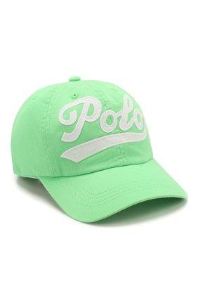Детская хлопковая бейсболка POLO RALPH LAUREN зеленого цвета, арт. 313788942 | Фото 1
