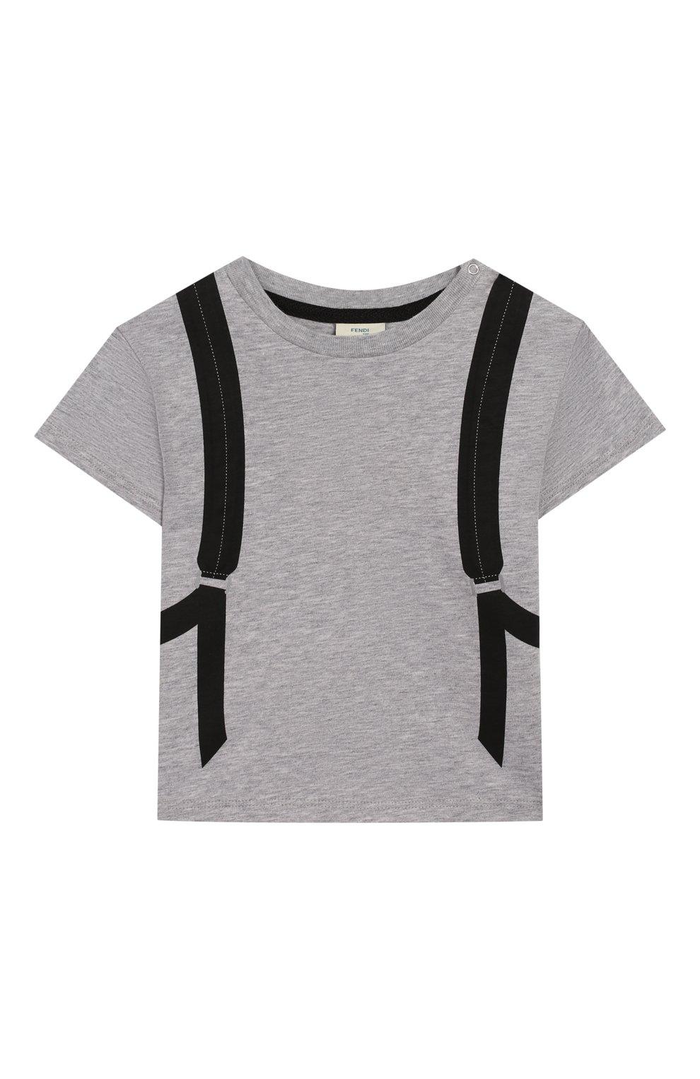 Детский хлопковая футболка FENDI серого цвета, арт. BMI199/7AJ/3M-9M | Фото 1