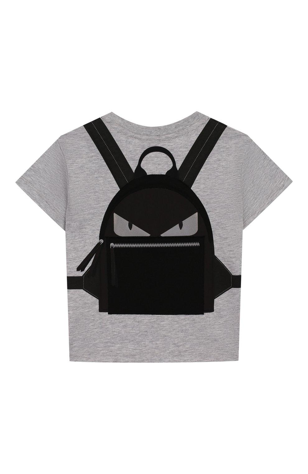 Детский хлопковая футболка FENDI серого цвета, арт. BMI199/7AJ/3M-9M | Фото 2