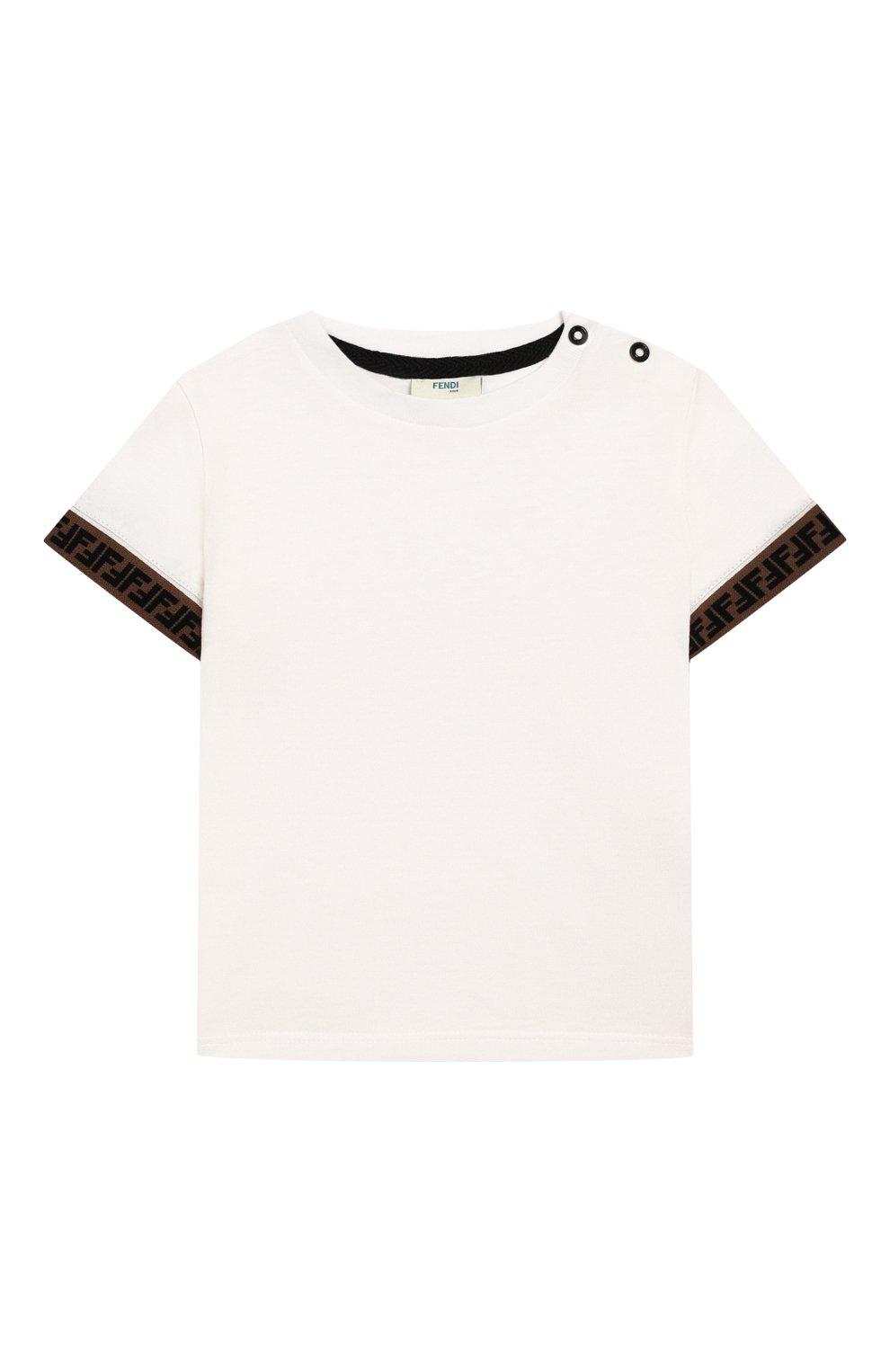 Детский хлопковая футболка FENDI белого цвета, арт. BMI200/7AJ/12M-24M | Фото 1