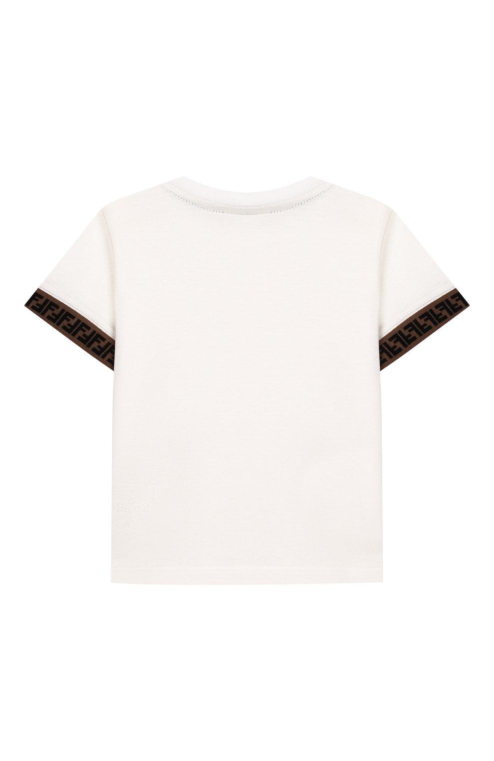 Детский хлопковая футболка FENDI белого цвета, арт. BMI200/7AJ/12M-24M | Фото 2