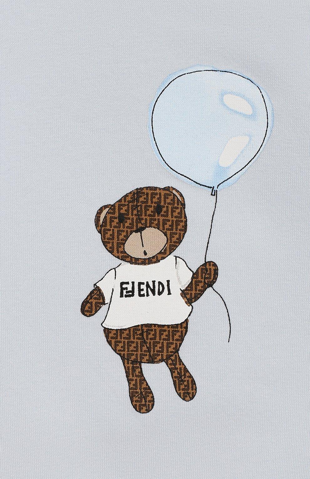 Детский хлопковый свитшот FENDI голубого цвета, арт. BUH017/95N/3M-9M   Фото 3