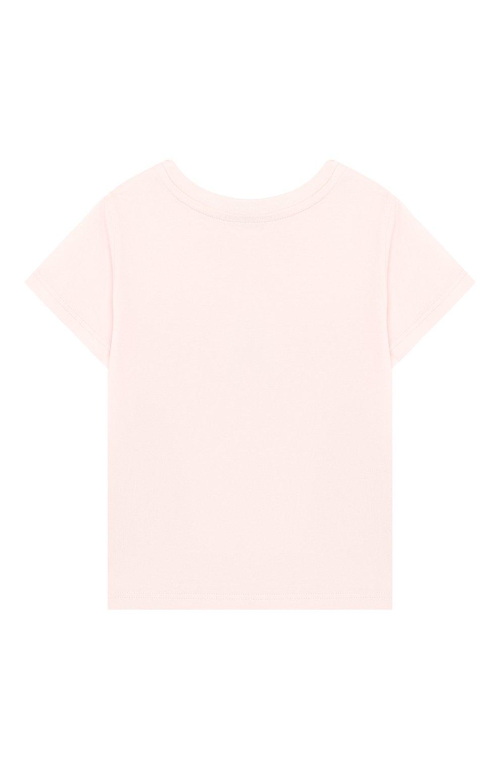 Детский хлопковая футболка FENDI розового цвета, арт. BUI010/ST8/12M-24M   Фото 2