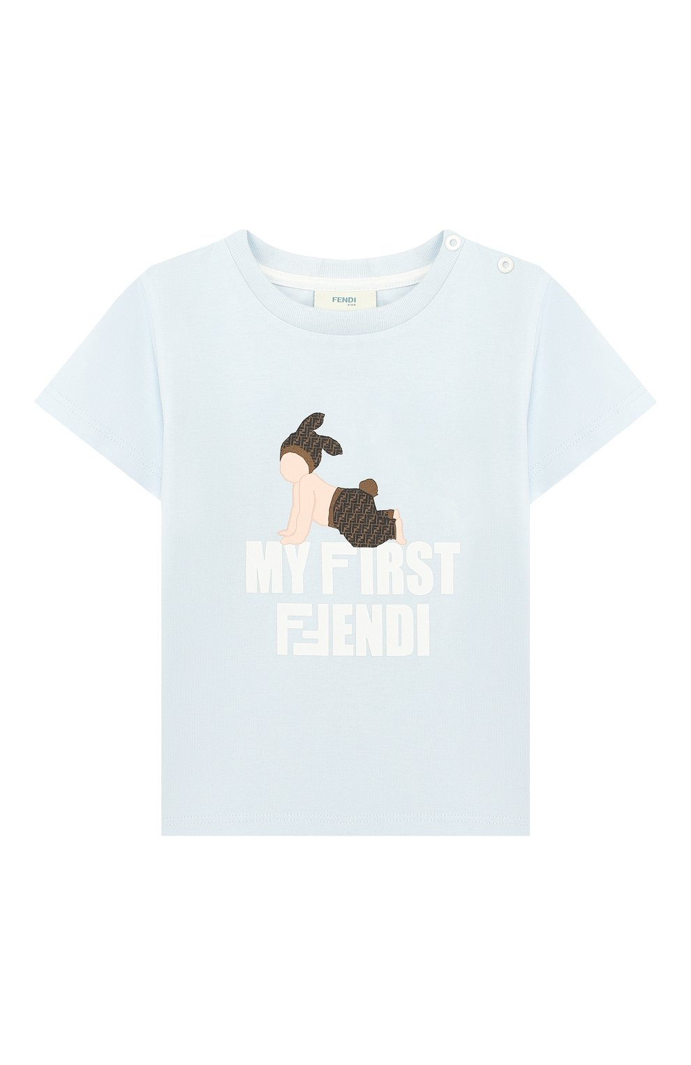Детский хлопковая футболка FENDI голубого цвета, арт. BUI010/ST8/12M-24M   Фото 1