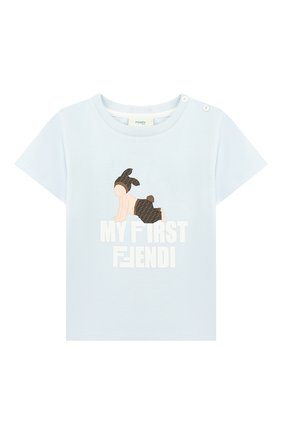 Детский хлопковая футболка FENDI голубого цвета, арт. BUI010/ST8/12M-24M | Фото 1