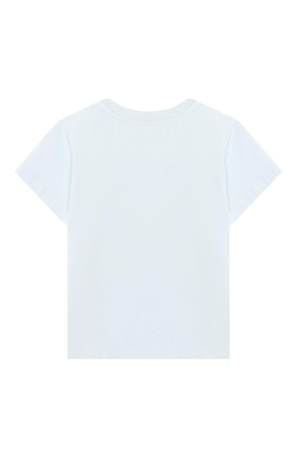 Детский хлопковая футболка FENDI голубого цвета, арт. BUI010/ST8/12M-24M   Фото 2