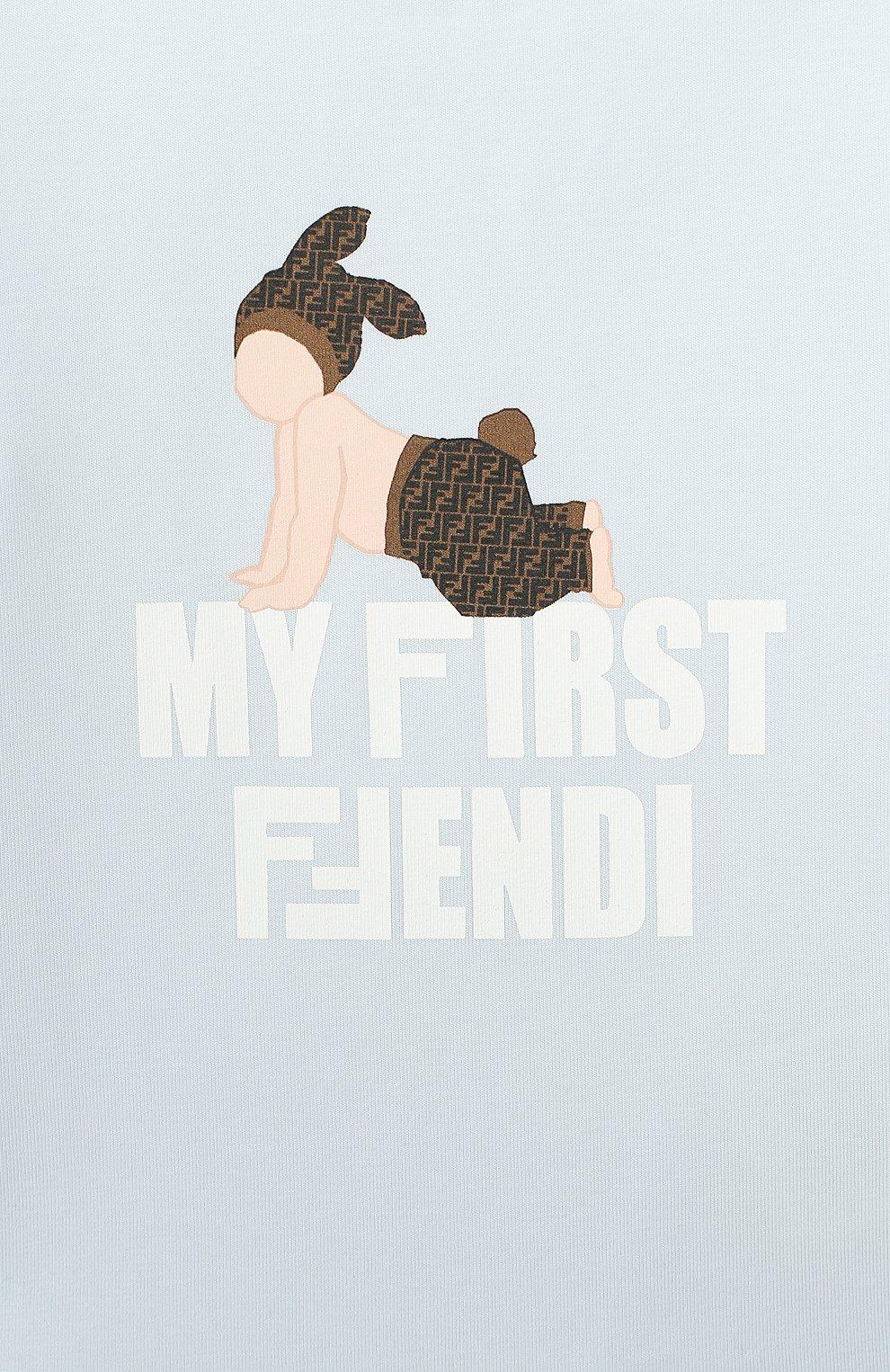 Детский хлопковая футболка FENDI голубого цвета, арт. BUI010/ST8/12M-24M   Фото 3