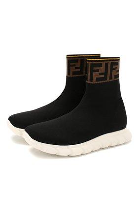 Детские текстильные кроссовки FENDI черного цвета, арт. JMR322/A62L/27-31 | Фото 1