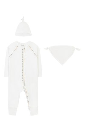 Детского комплект из 3-х предметов BURBERRY белого цвета, арт. 8025495 | Фото 1