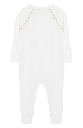 Детского комплект из 3-х предметов BURBERRY белого цвета, арт. 8025495 | Фото 3