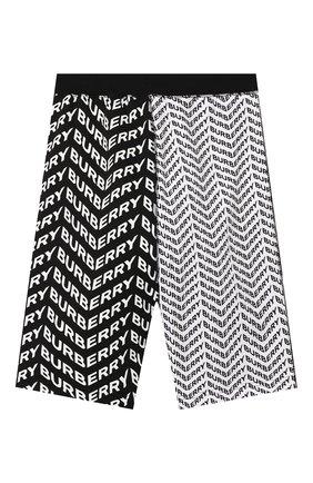 Детские хлопковые шорты BURBERRY черно-белого цвета, арт. 8022719   Фото 2