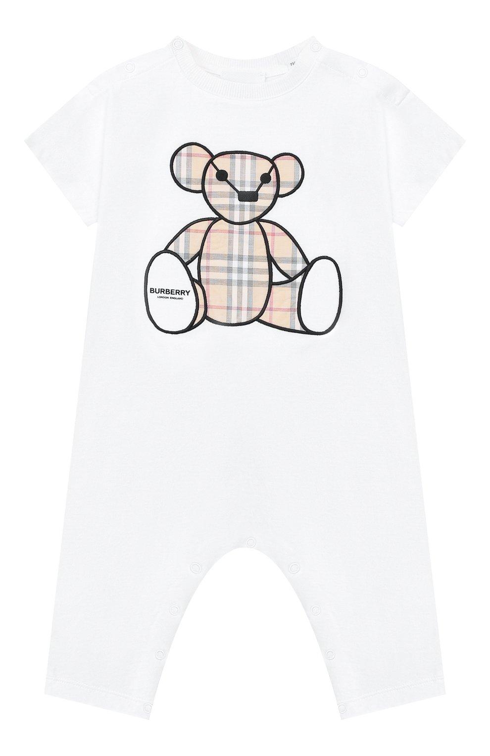 Детский хлопковый комбинезон BURBERRY белого цвета, арт. 8022709 | Фото 1