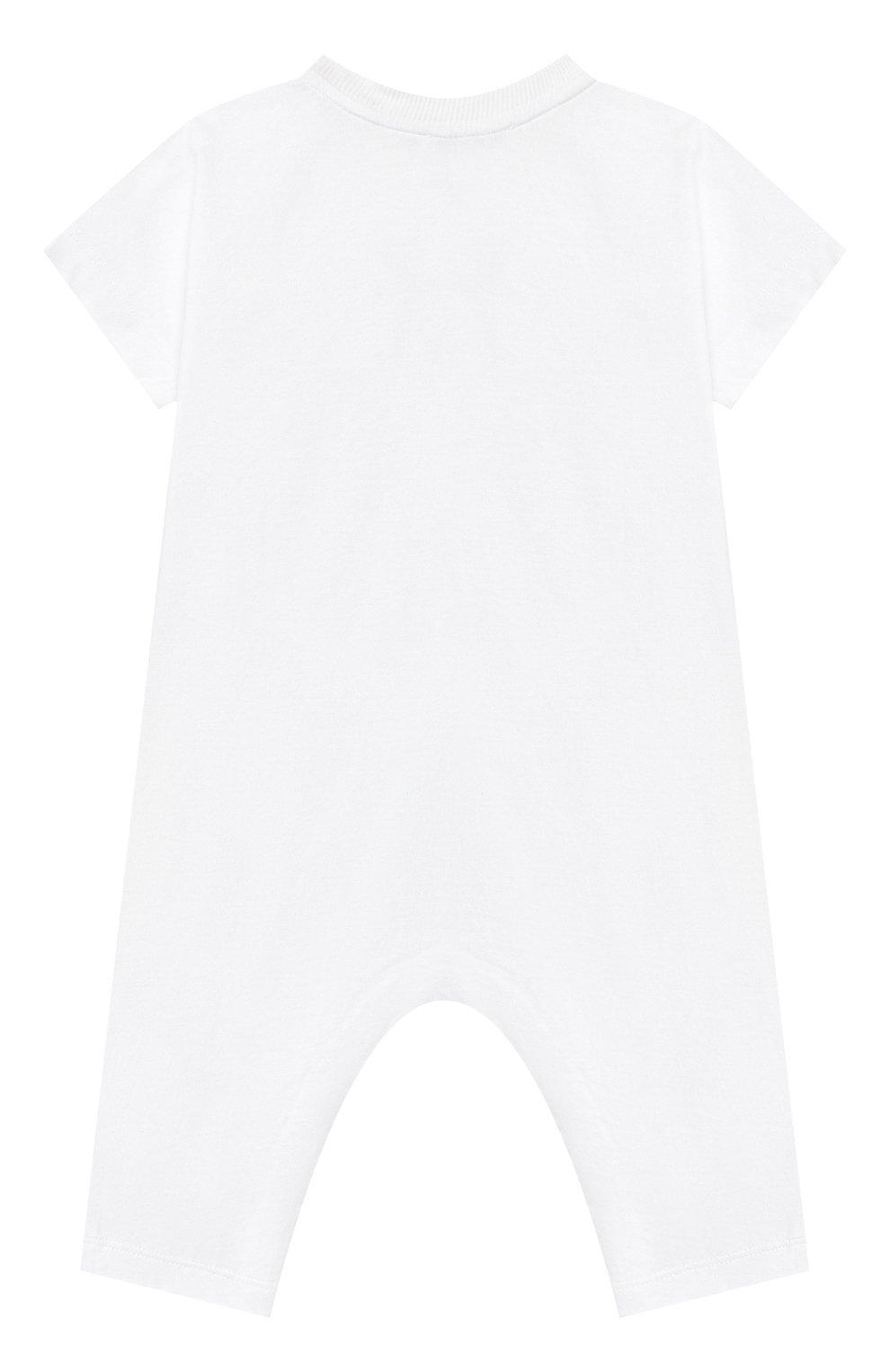 Детский хлопковый комбинезон BURBERRY белого цвета, арт. 8022709 | Фото 2
