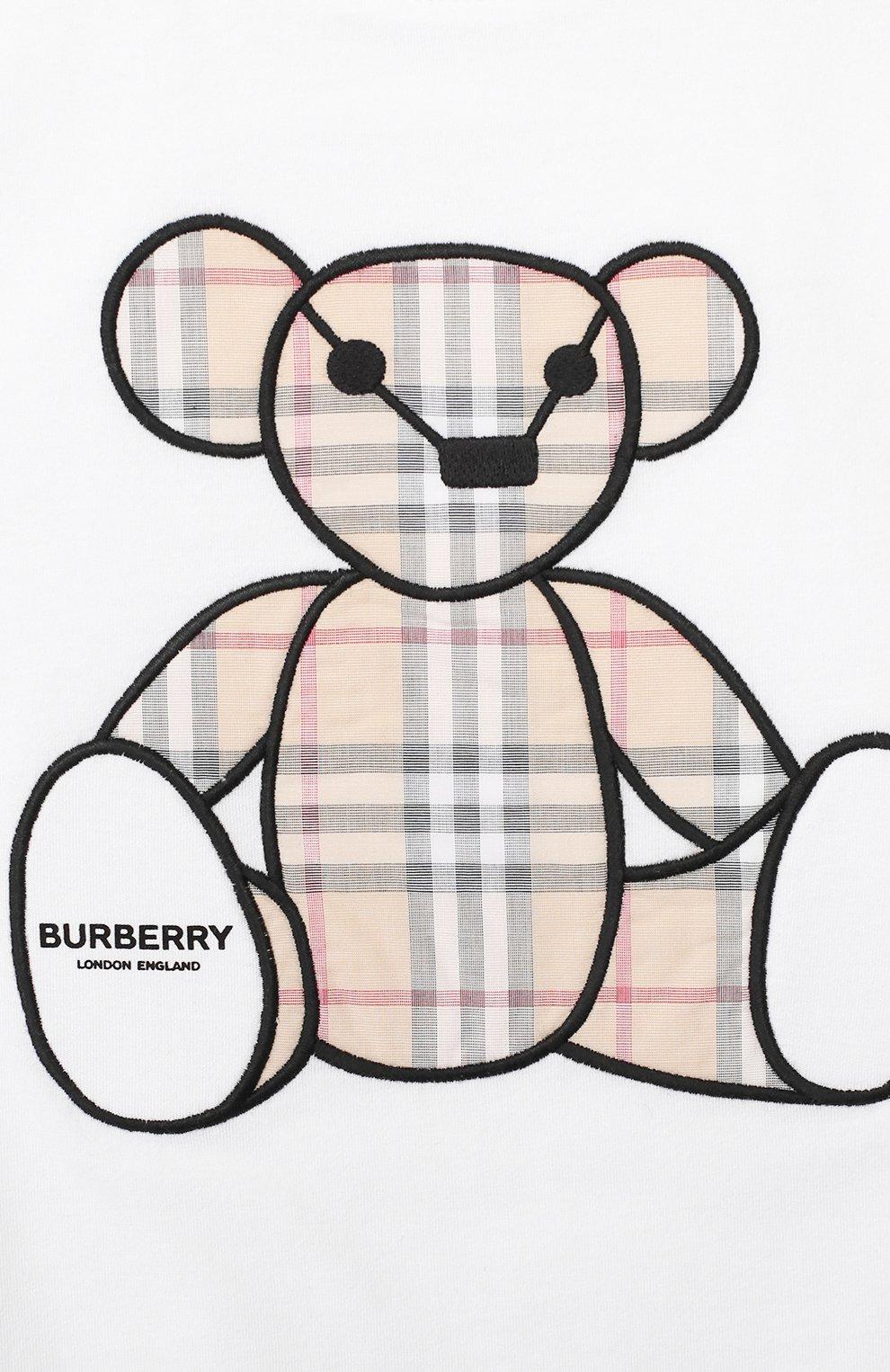 Детский хлопковый комбинезон BURBERRY белого цвета, арт. 8022709 | Фото 3