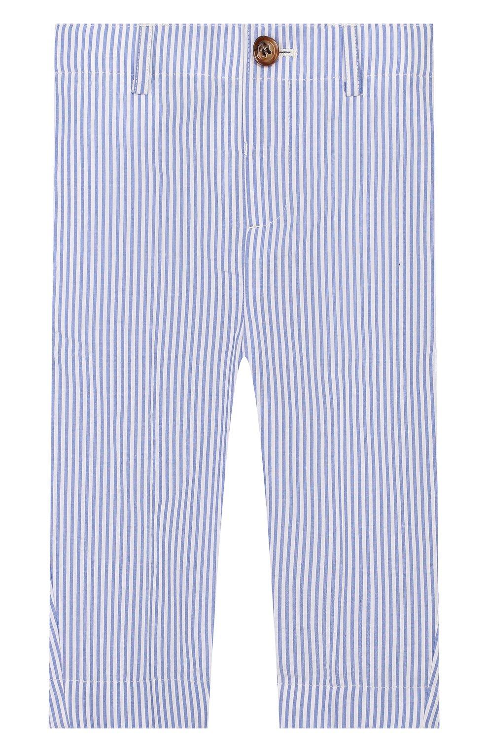 Детские хлопковые брюки BURBERRY голубого цвета, арт. 8022354   Фото 1