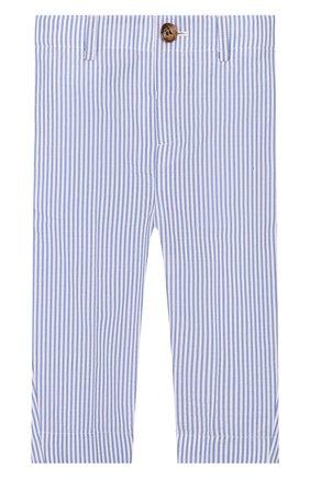 Детские хлопковые брюки BURBERRY голубого цвета, арт. 8022354 | Фото 1