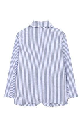 Детский хлопковый пиджак BURBERRY голубого цвета, арт. 8022353 | Фото 2