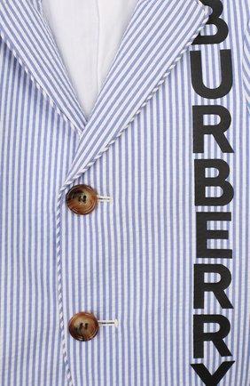 Детский хлопковый пиджак BURBERRY голубого цвета, арт. 8022353   Фото 3