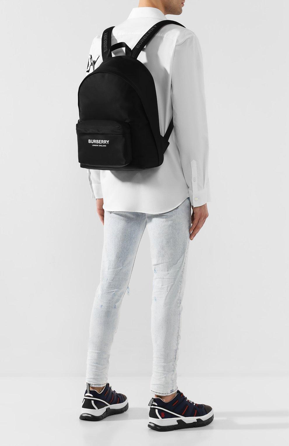 Мужской текстильный рюкзак BURBERRY черного цвета, арт. 8021084 | Фото 2