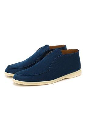 Мужские замшевые ботинки open walk LORO PIANA темно-синего цвета, арт. FAB4368 | Фото 1