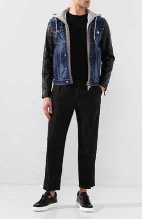 Мужские кожаные кеды BUSCEMI черного цвета, арт. 420SM022VP01FK/M | Фото 2
