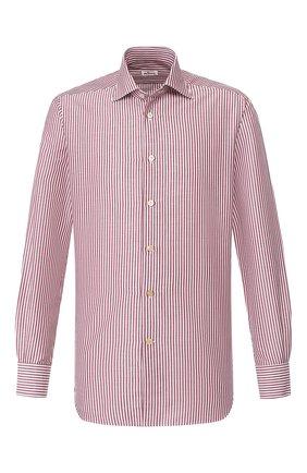 Мужская сорочка из смеси хлопка и льна KITON бордового цвета, арт. UCIH0660936 | Фото 1