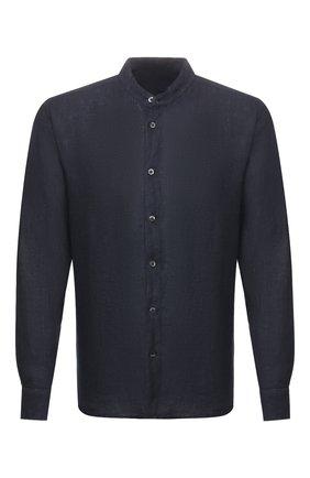 Мужская льняная рубашка 120% LINO темно-синего цвета, арт. R0M1159/B317/000 | Фото 1