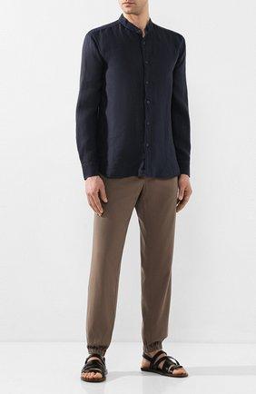 Мужская льняная рубашка 120% LINO темно-синего цвета, арт. R0M1159/B317/000 | Фото 2