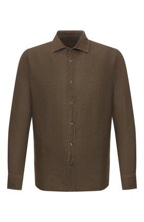 Мужская льняная рубашка 120% LINO хаки цвета, арт. R0M1311/B317/000 | Фото 1
