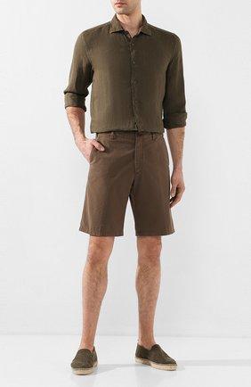 Мужская льняная рубашка 120% LINO хаки цвета, арт. R0M1311/B317/000 | Фото 2