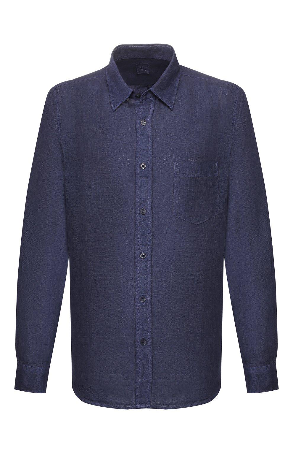 Мужская льняная рубашка 120% LINO темно-синего цвета, арт. R0M1425/0115/S00 | Фото 1