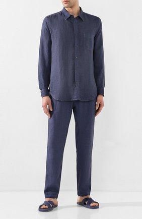 Мужская льняная рубашка 120% LINO темно-синего цвета, арт. R0M1425/0115/S00 | Фото 2