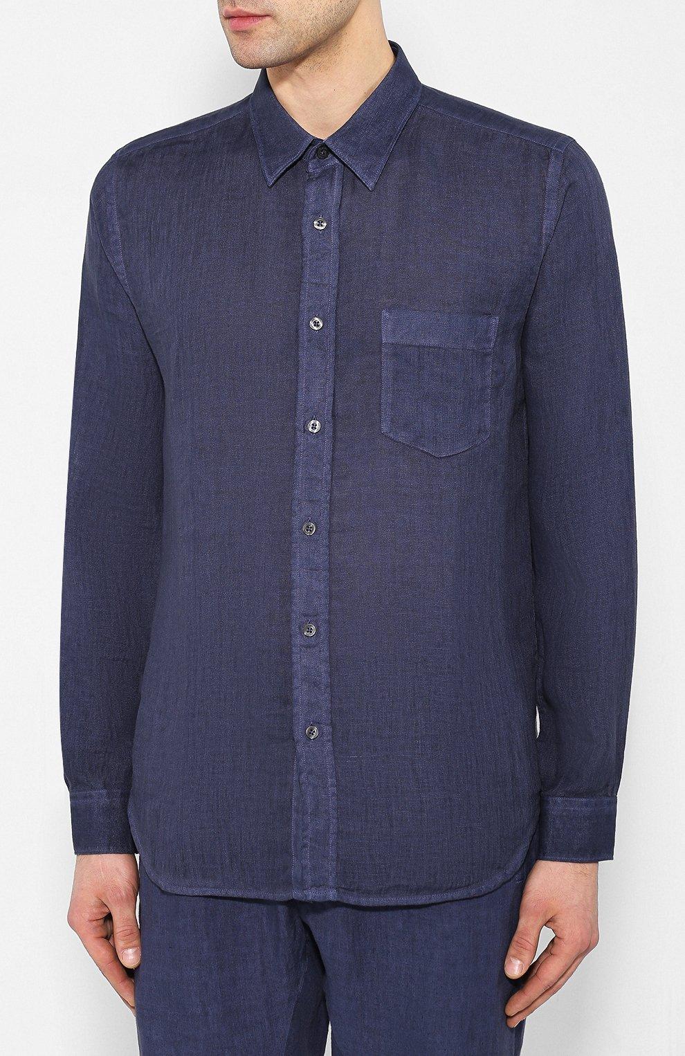 Мужская льняная рубашка 120% LINO темно-синего цвета, арт. R0M1425/0115/S00 | Фото 3