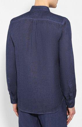 Мужская льняная рубашка 120% LINO темно-синего цвета, арт. R0M1425/0115/S00 | Фото 4