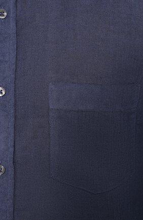 Мужская льняная рубашка 120% LINO темно-синего цвета, арт. R0M1425/0115/S00 | Фото 5