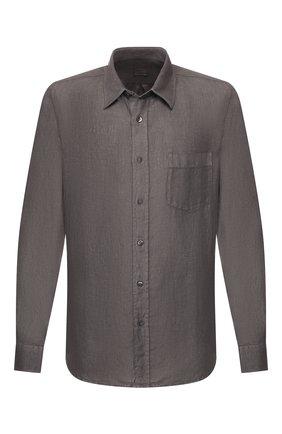 Мужская льняная рубашка 120% LINO серого цвета, арт. R0M1425/0115/S00 | Фото 1