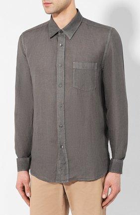 Мужская льняная рубашка 120% LINO серого цвета, арт. R0M1425/0115/S00 | Фото 3