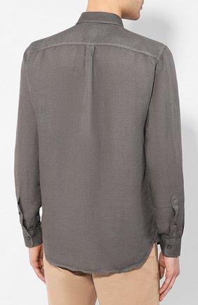 Мужская льняная рубашка 120% LINO серого цвета, арт. R0M1425/0115/S00 | Фото 4