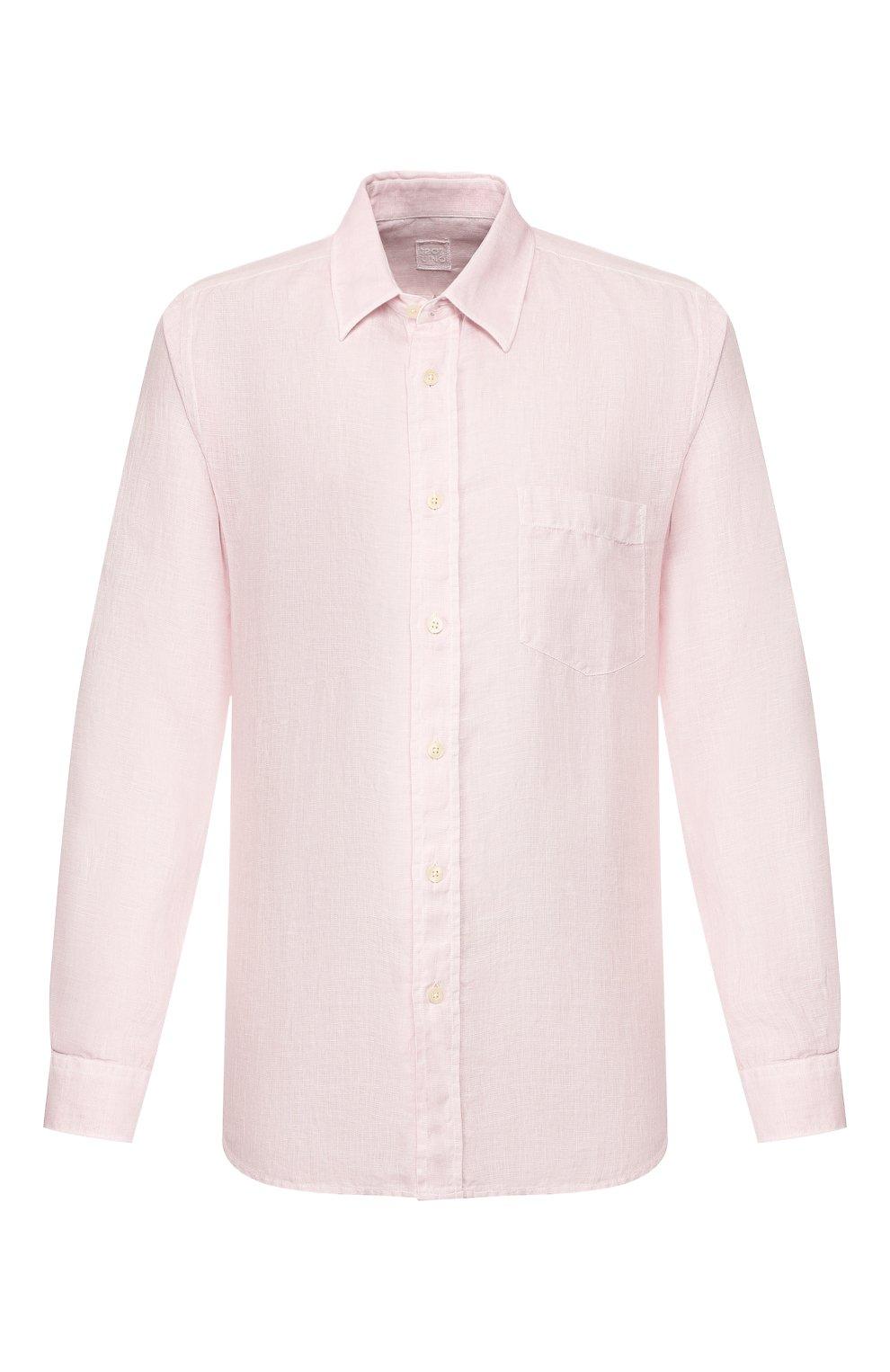 Мужская льняная рубашка 120% LINO светло-розового цвета, арт. R0M1425/0115/S00   Фото 1
