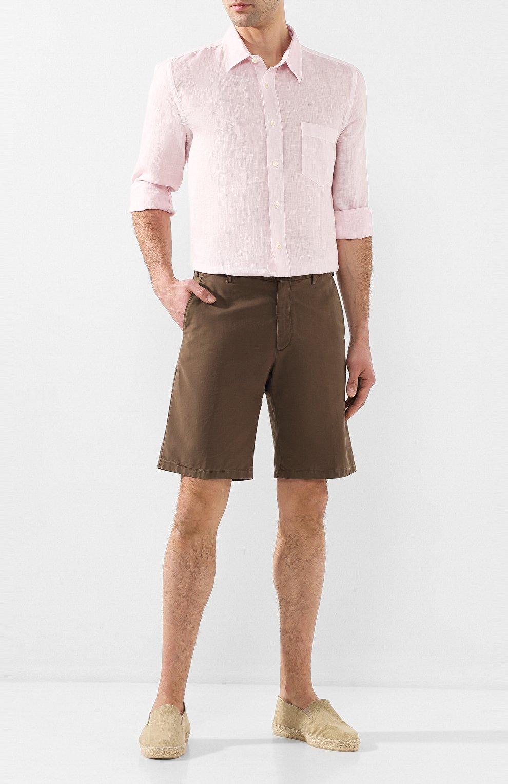 Мужская льняная рубашка 120% LINO светло-розового цвета, арт. R0M1425/0115/S00   Фото 2