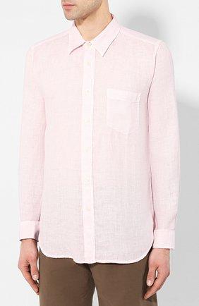 Мужская льняная рубашка 120% LINO светло-розового цвета, арт. R0M1425/0115/S00   Фото 3